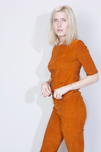 SUE REEDITION - JANE T-shirt en Agneau Plongé Stretch Curry