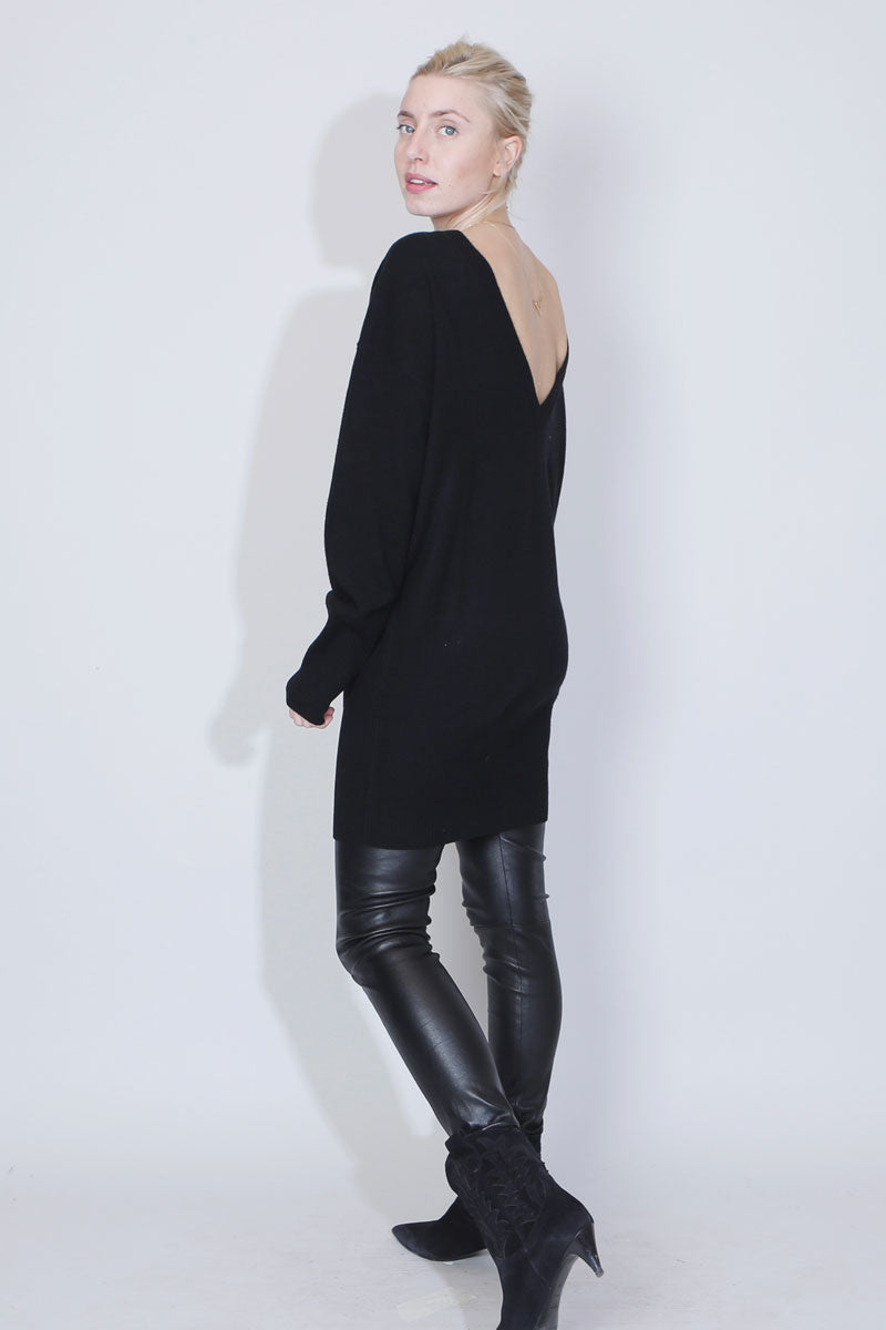 SUE REEDITION - ERIKA BLACK Long Pull en Jersey de Cachemire Noir