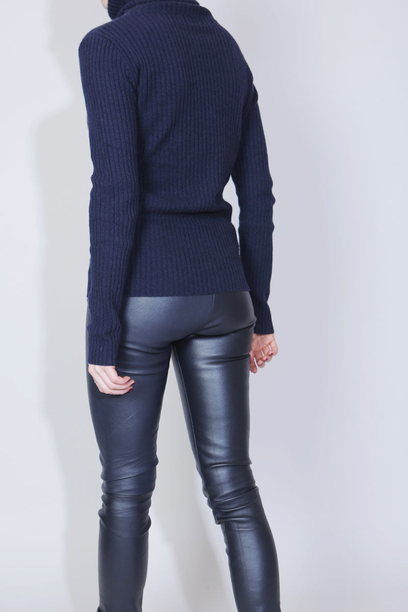 SUE REEDITION - PRINCE NAVY Leggings Cuir en Agneau Plongé Stretch Bleu Marine