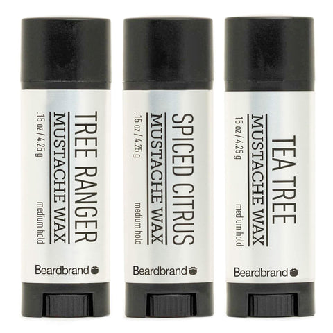 Beardbrand Spiced Citrus & Tea Tree & Tree Ranger Moustache Set 3x4.25gr