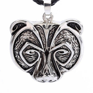 Bears Head Norse Viking Style Pendant Necklace