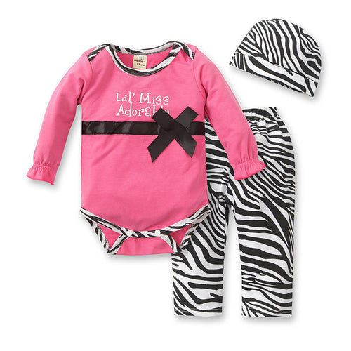 BABY GIRL CLOTHING SET ROMPER + PANTS + HAT CAP - ZEBRA