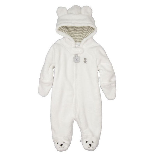 BABY BEAR WINTER ROMPER - WHITE