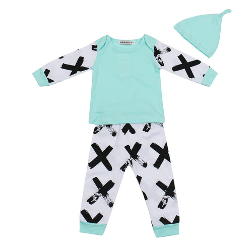 NEWBORN BABY MINT CLOTHING SET - SHIRT + PANTS + HAT CAP