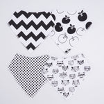 4 PCS BABY BIBS SET - BLACK AND WHITE