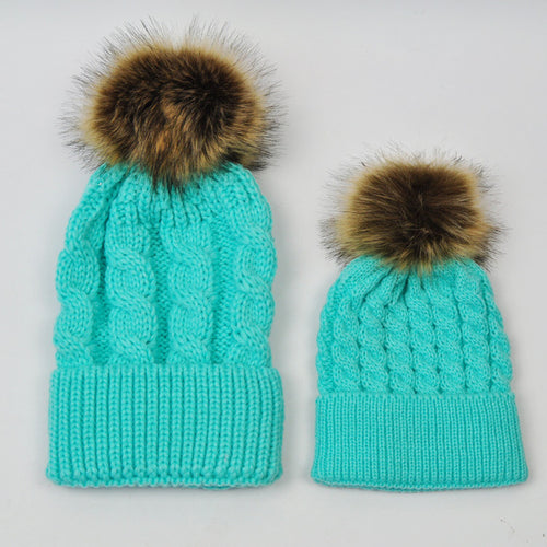 MOMMY AND BABY KNITTED HATS - TURQUOISE