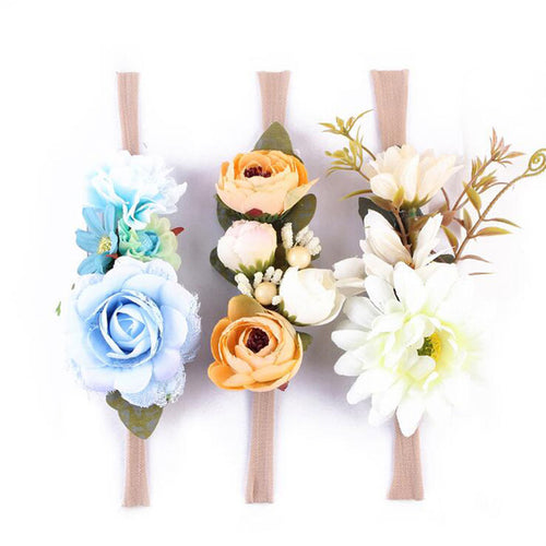 NEWBORN FLOWER HEADBAND - 3 PCS