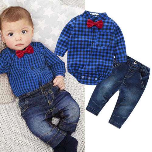 Baby Boys Clothing Set - Bowtie + Demin Pants