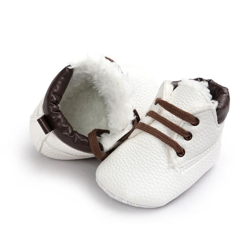 AUTUMN/WINTER BABY SHOES LACE UP - WHITE