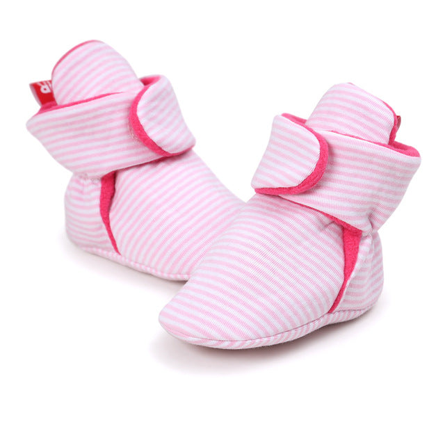 AUTUMNWINTER BABY SHOES - PINK STRIPES