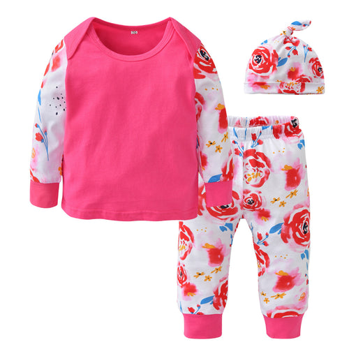 FLORAL BABY CLOTHING SET SHIRT + PANTS + HAT CAP