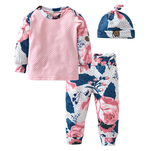 BABY ROSE CLOTHING SET - SHIRT + PANTS + HAT CAP