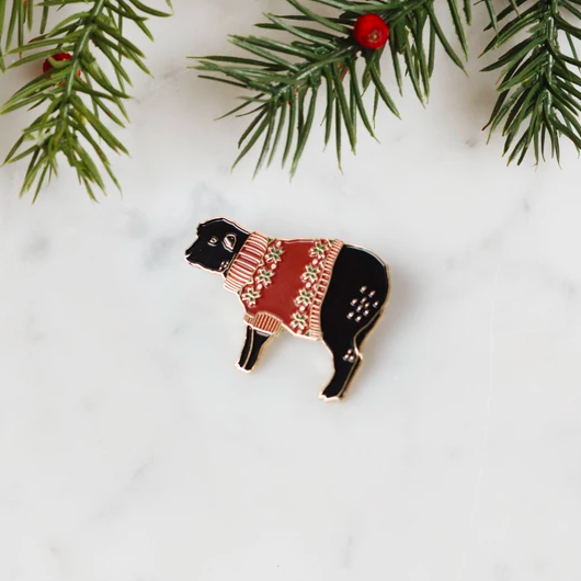 K2TOG CLUB pin, holiday sweater