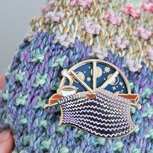 Twill & Print Knitting Moon Phase Pin
