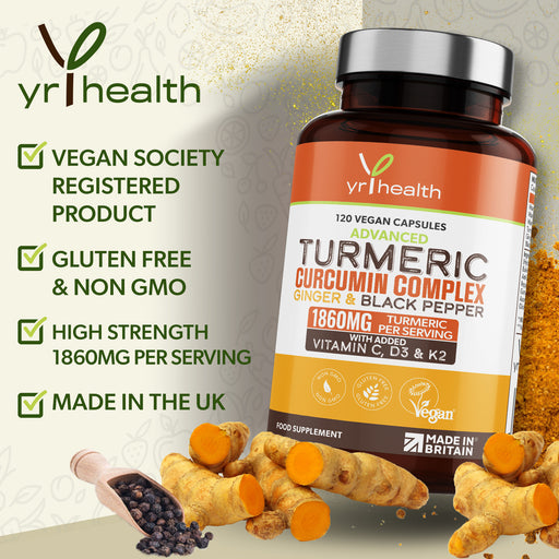 Turmeric Curcumin Complex Ginger & Black Pepper - 120 Vegan Tablets