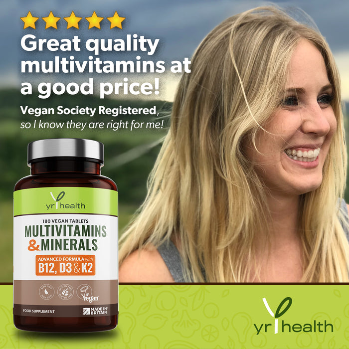 Advanced Vegan Multivitamins & Minerals High in B12, D3 with Added Vitamin K2 - 180 Tablets