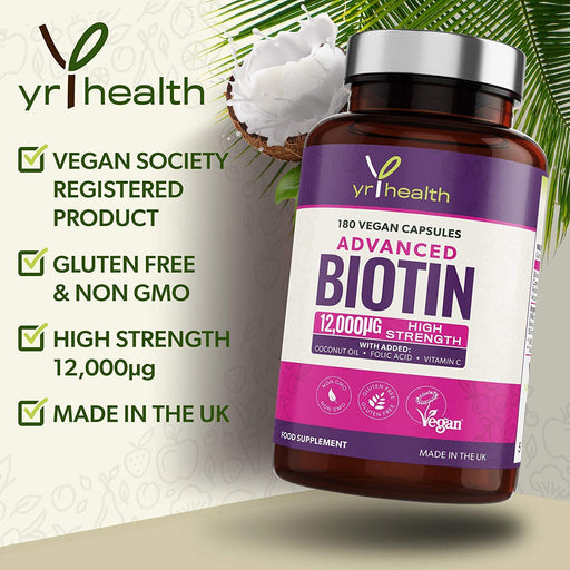 Advanced Biotin 12,000µg Complex with Added Coconut Oil, Folic Acid & Vitamin C - 180 Vegan Capsules