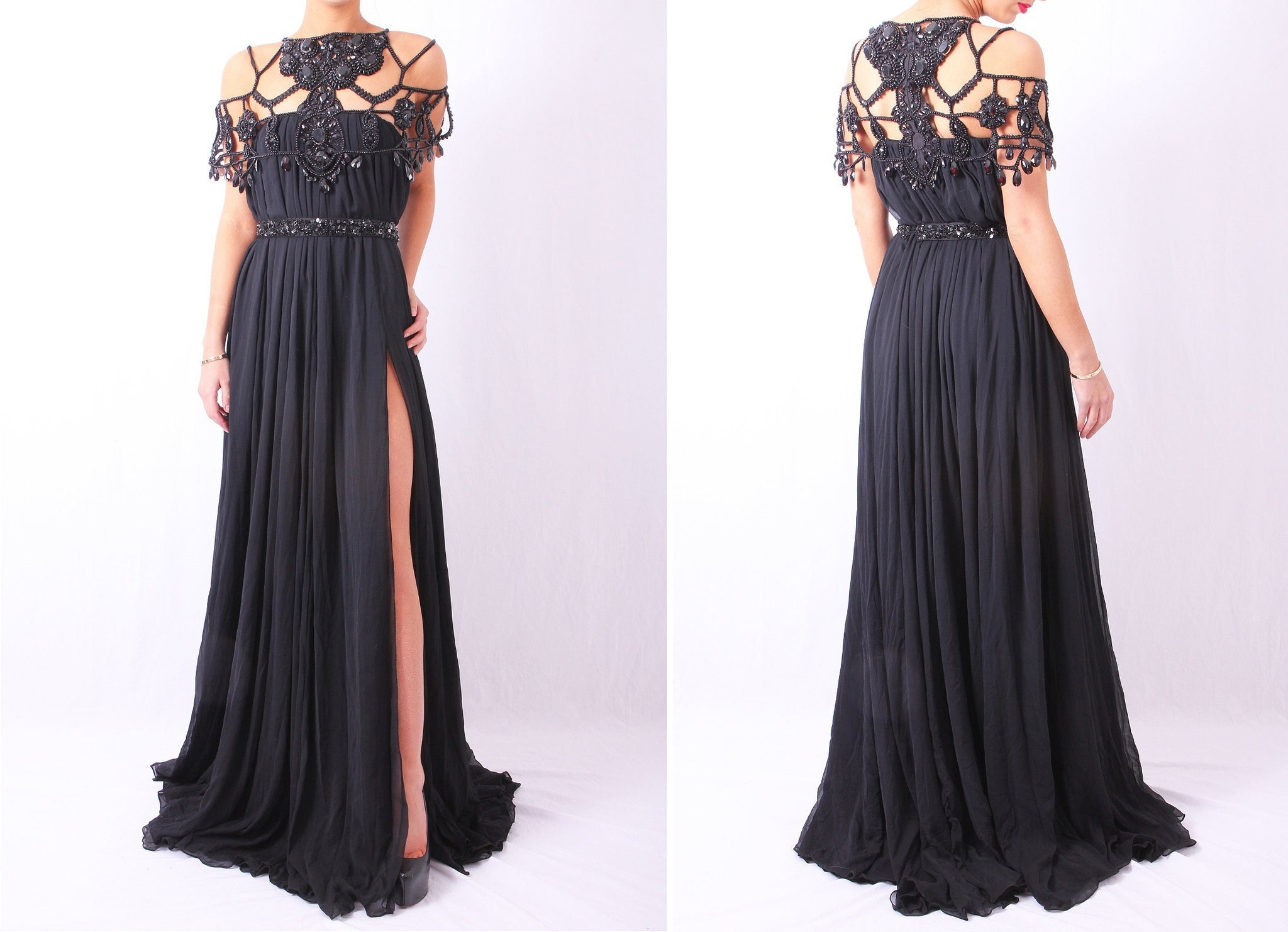 Beaded Neckline Maxi Black