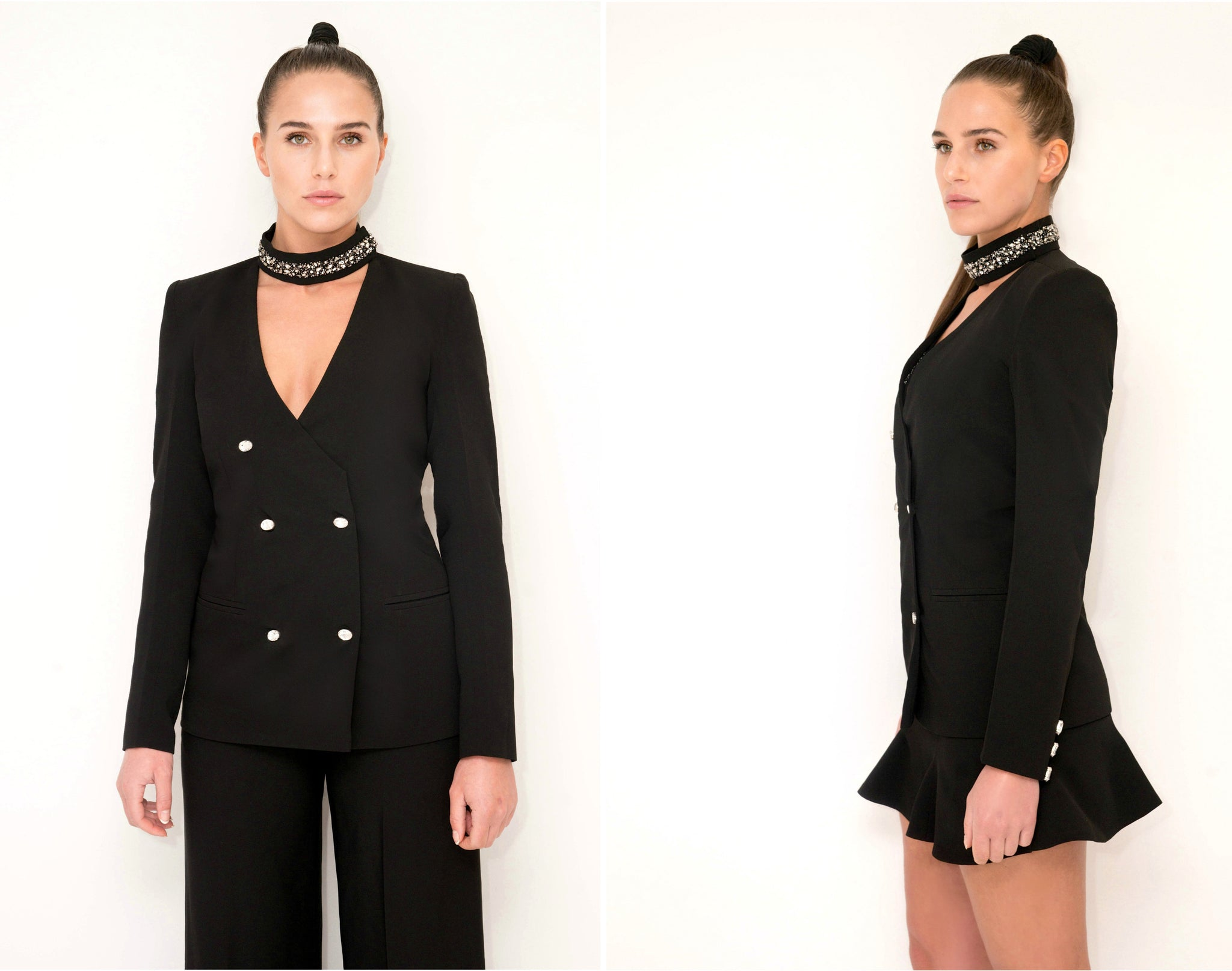Crystal Collar Jacket Black