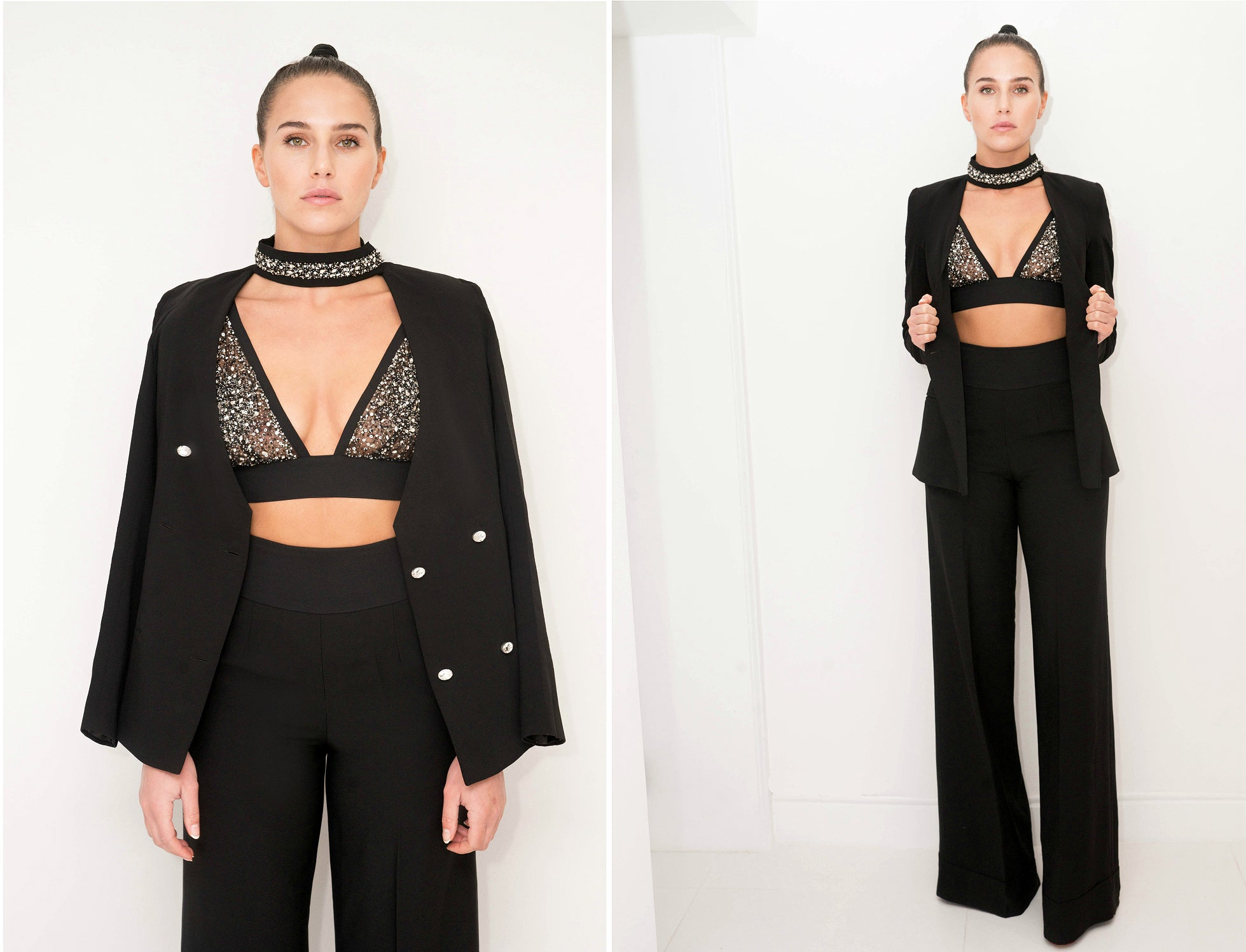 Crystal Crop Top Black