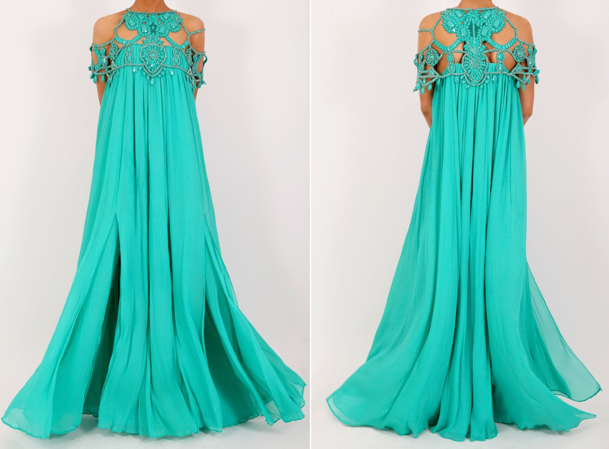 Beaded Neckline Dress Aqua