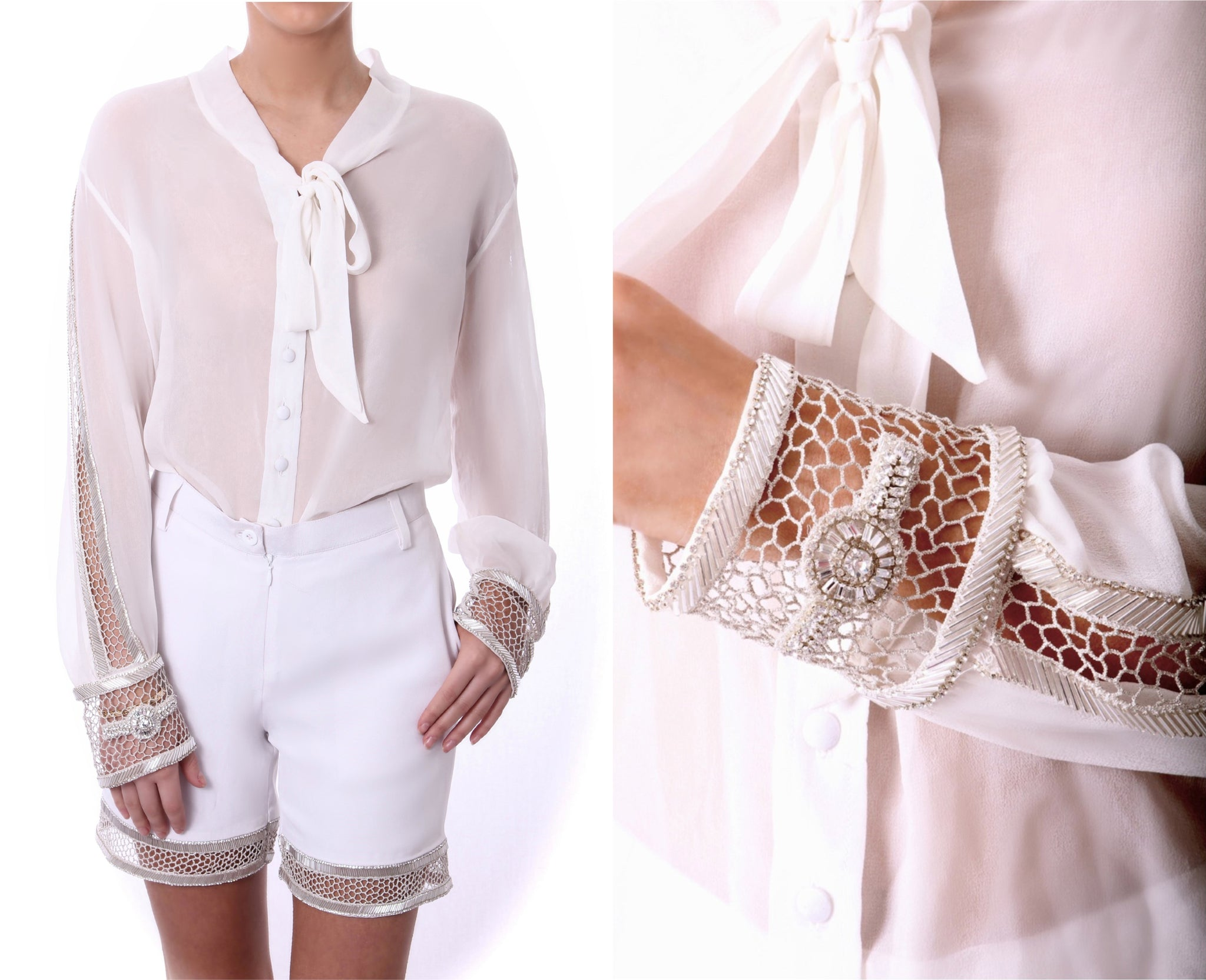 Honey Comb Blouse White