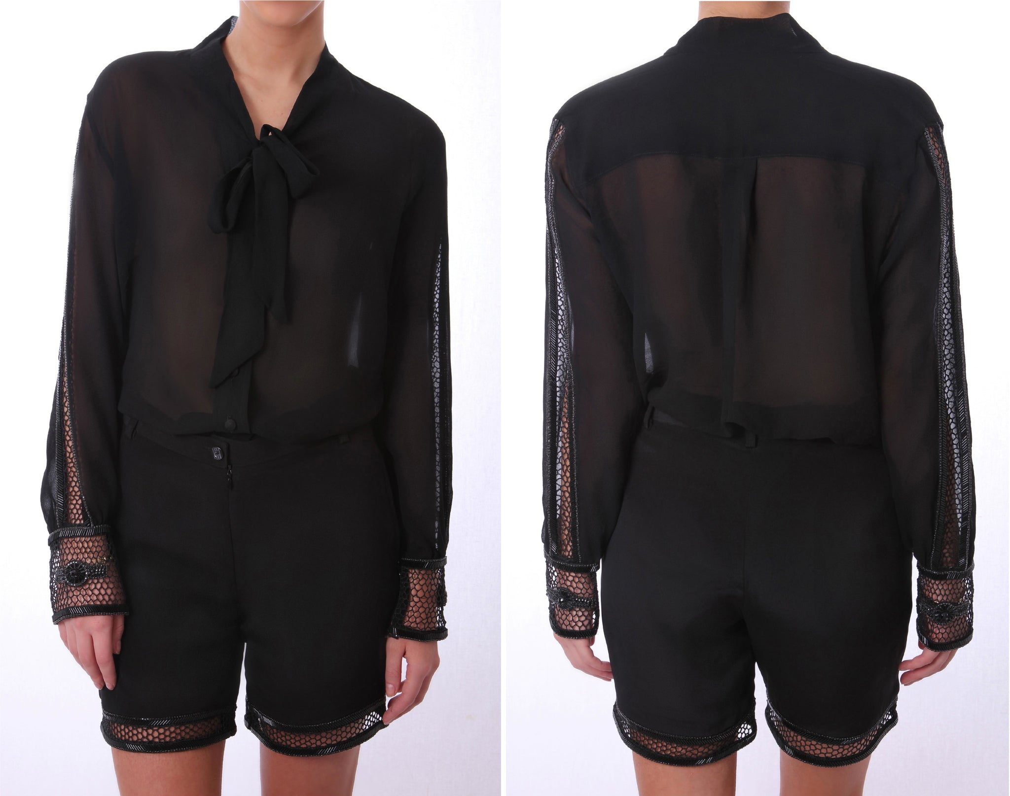 Honey Comb Blouse Black