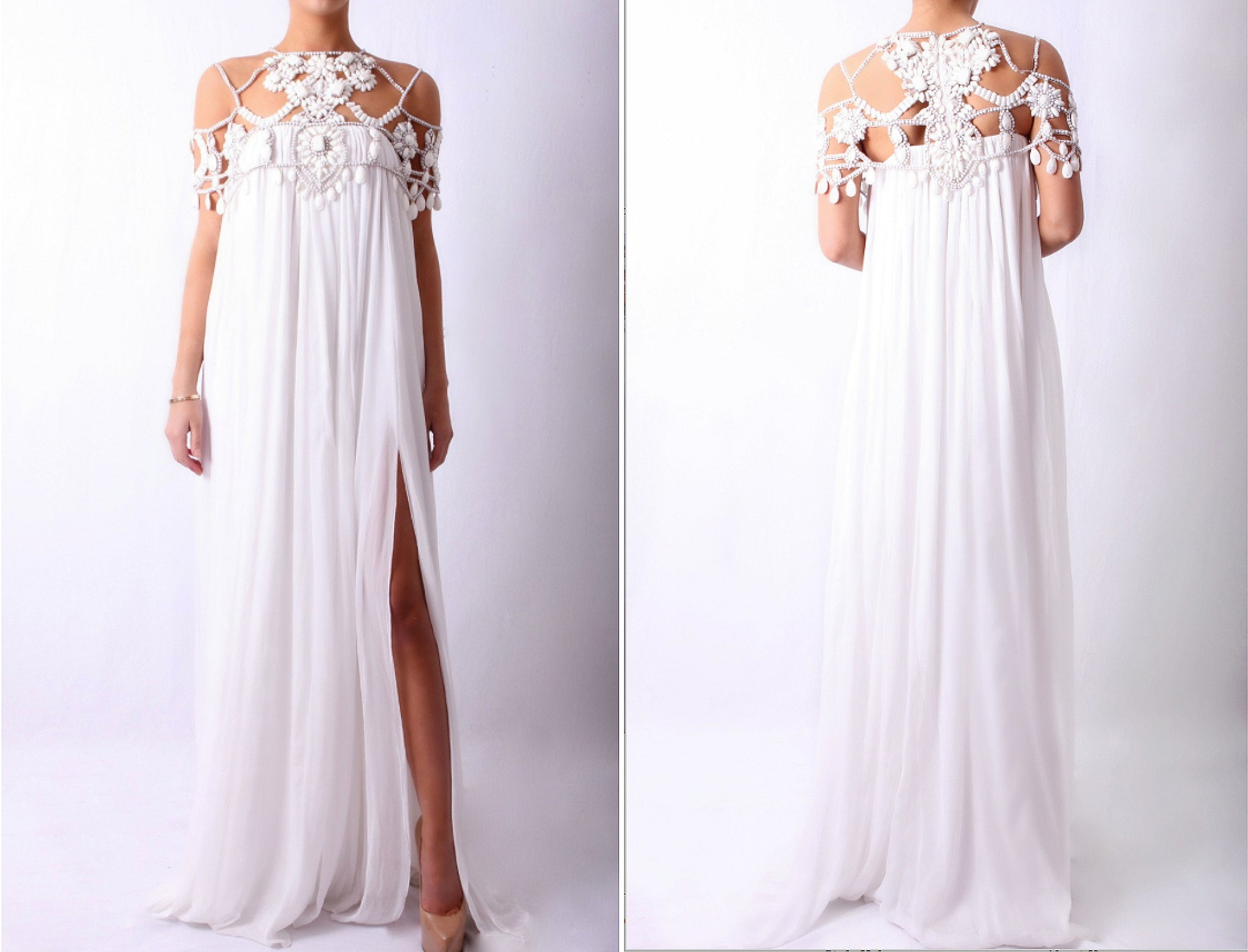 Beaded Neckline Maxi White
