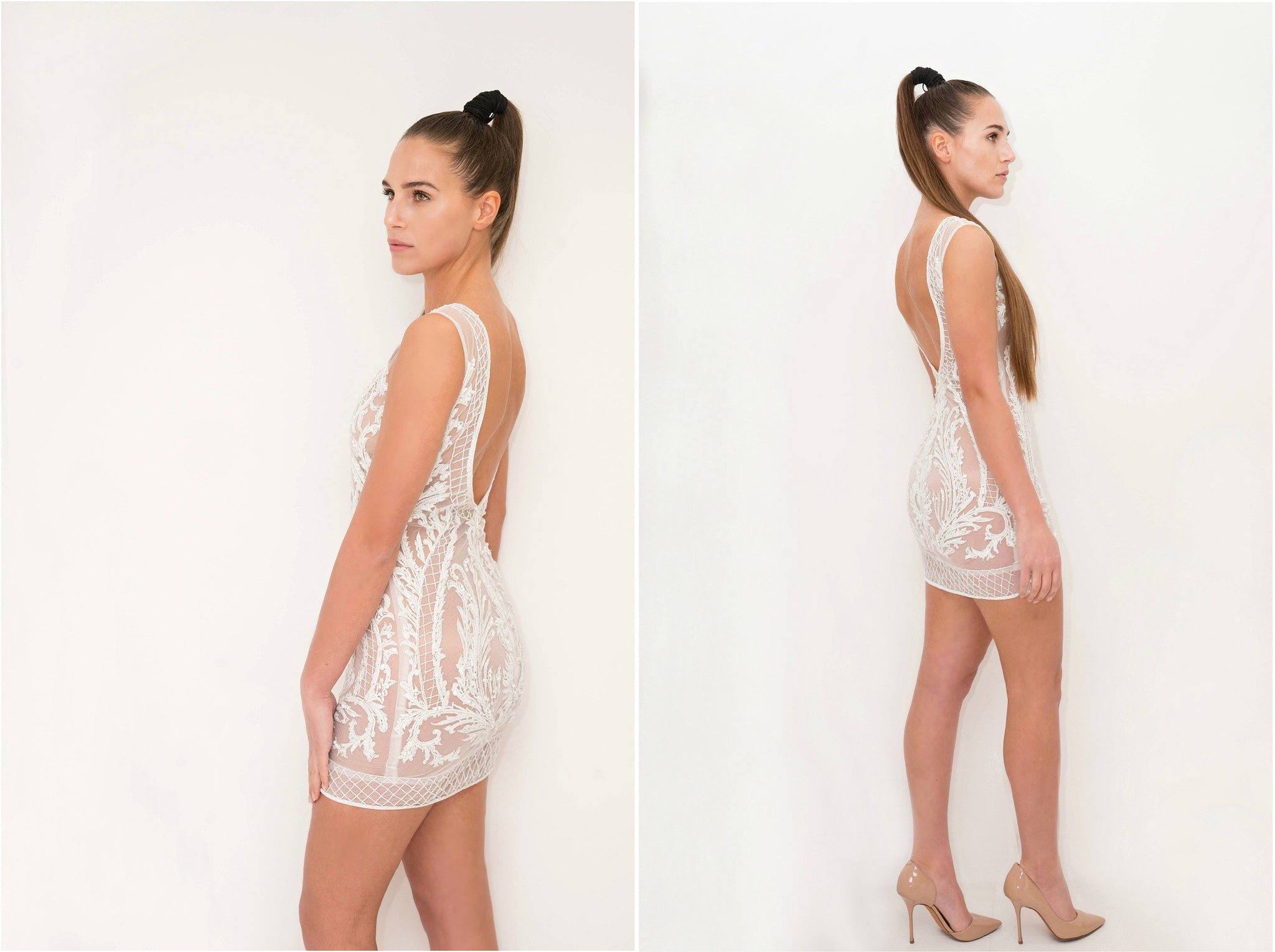 Short Beaded Backless Dress