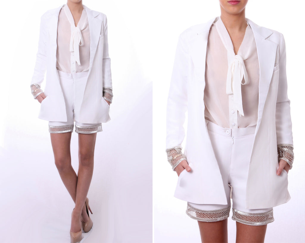 Honey Comb Cuff Blazer White