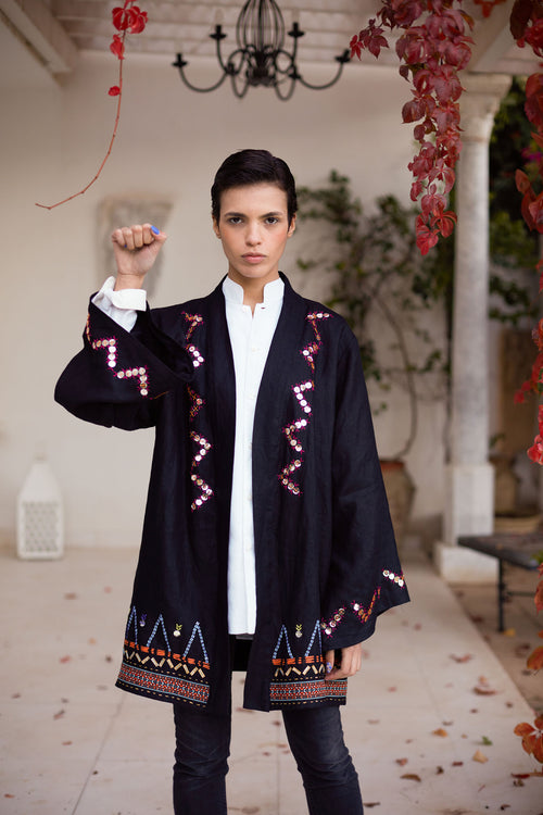 Divya - Linen Embroidered Jacket