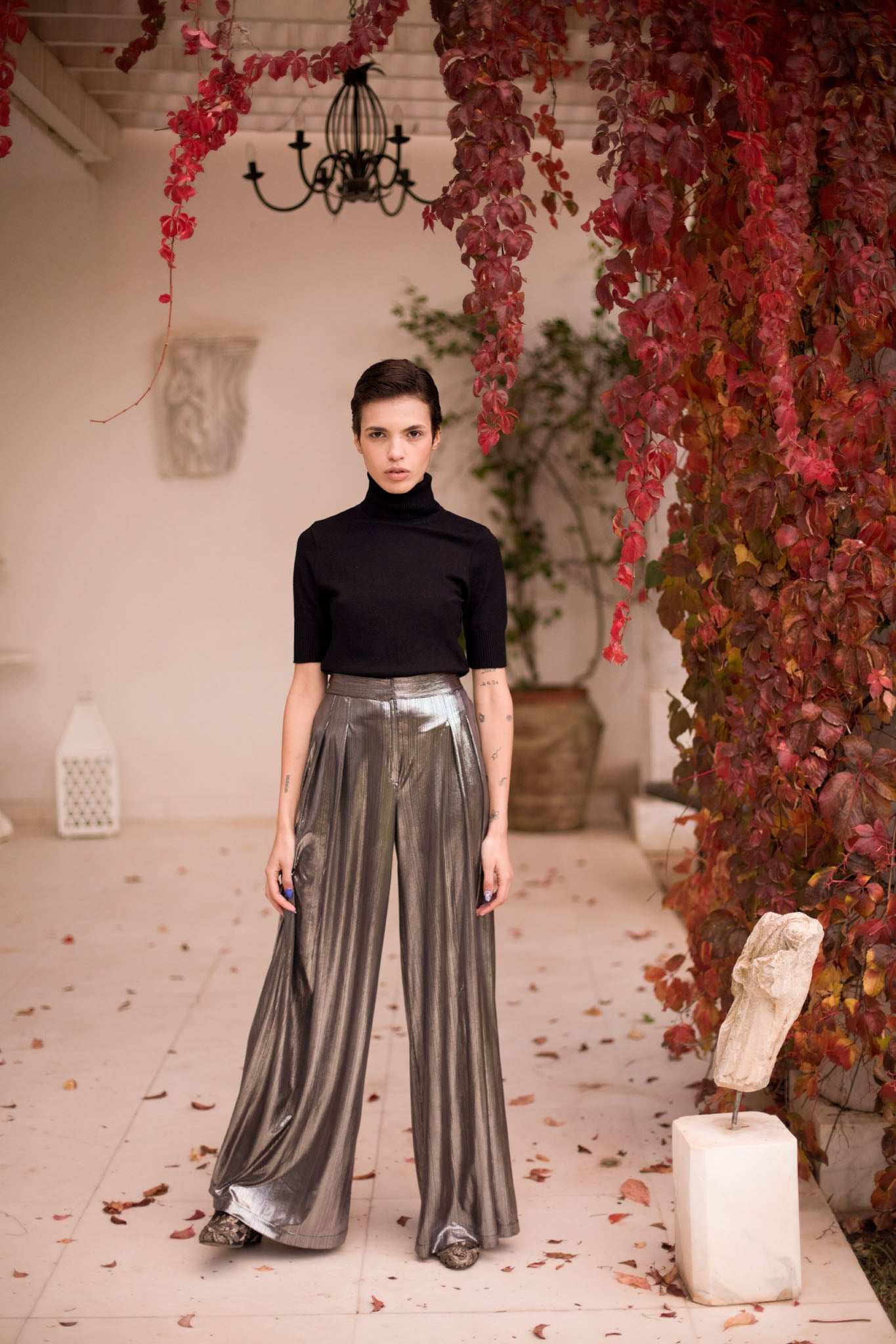 Rocky - Metallic Flowy Pants