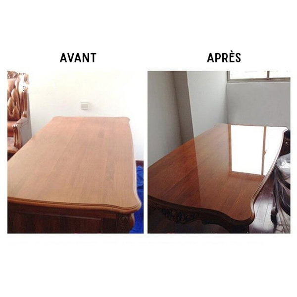 Avant - Après la pose du film transparent sur la table basse