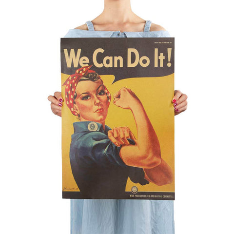 "Poster Vintage Américain ""We Can Do It"" - Papier Kraft Taille 51.5x36cm"