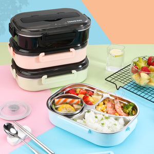 Lunch Box bento japonais 4 compartiments inox avec sac isotherme