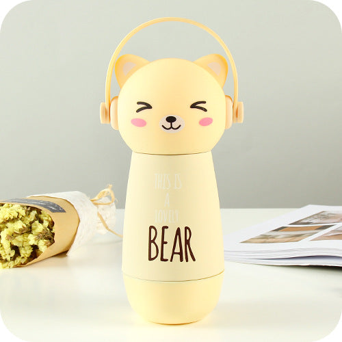 Thermos couleur jaune pour Enfant : Illustration d'un chat kawaii