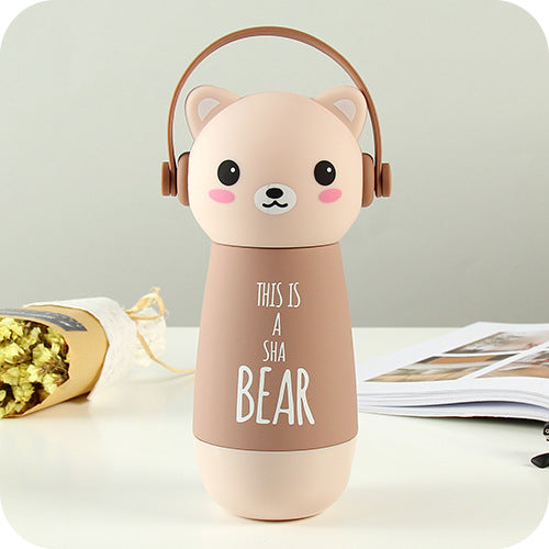 Thermos couleur beige kawaii pour Enfant : Illustration d'un chat
