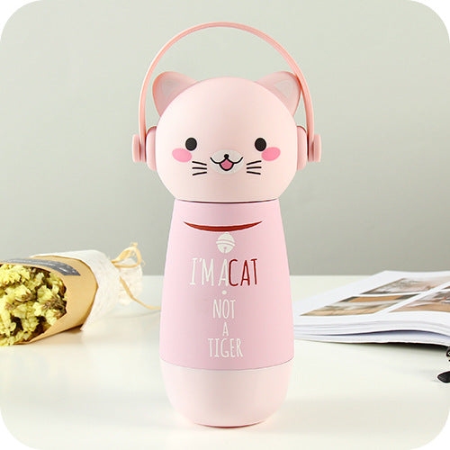 Thermos couleur rose pour Enfant : Illustration d'un chat kawaii