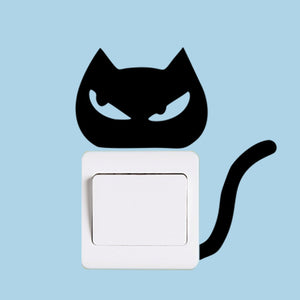 sticker interrupteur chat noir yeux malins