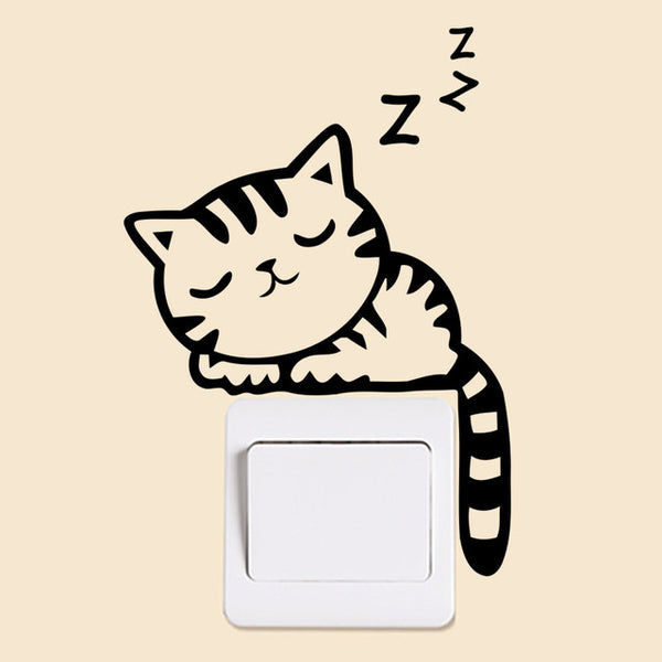 sticker interrupteur chaton en train de dormir