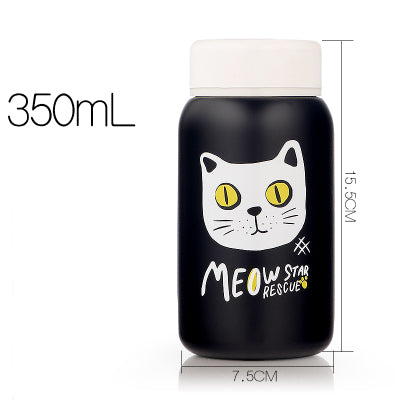 Bouteille isotherme femme - chat blanc yeux jaunes - fashion