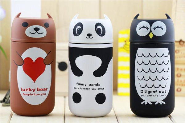 Mug Thermos Enfant 220ml - Thème Winnie L'ourson, Hibou, Panda, Ours Brun