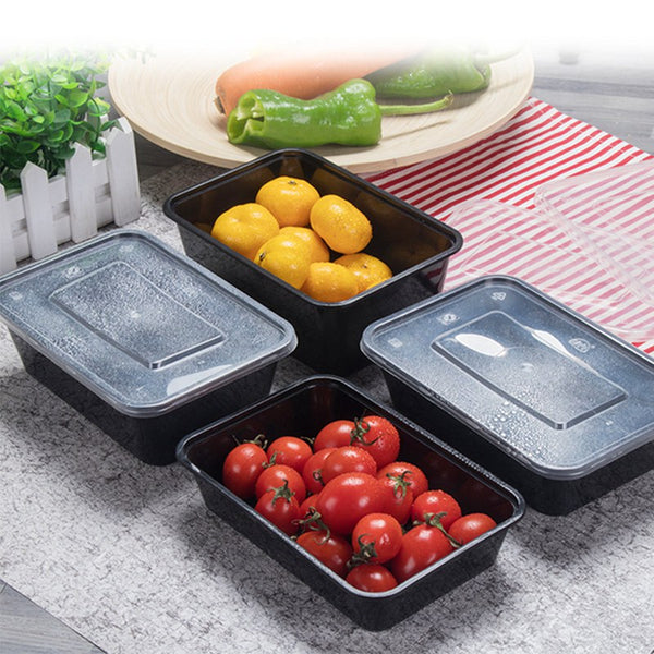 Lot de 10 Lunch Box noires réutilisables 450 ml