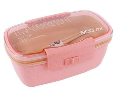 Lunch box paille de blé 800ml couleur rose