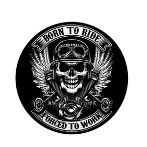 Stickers motard BORN TO RIDE - Tête de mort biker, 12cm