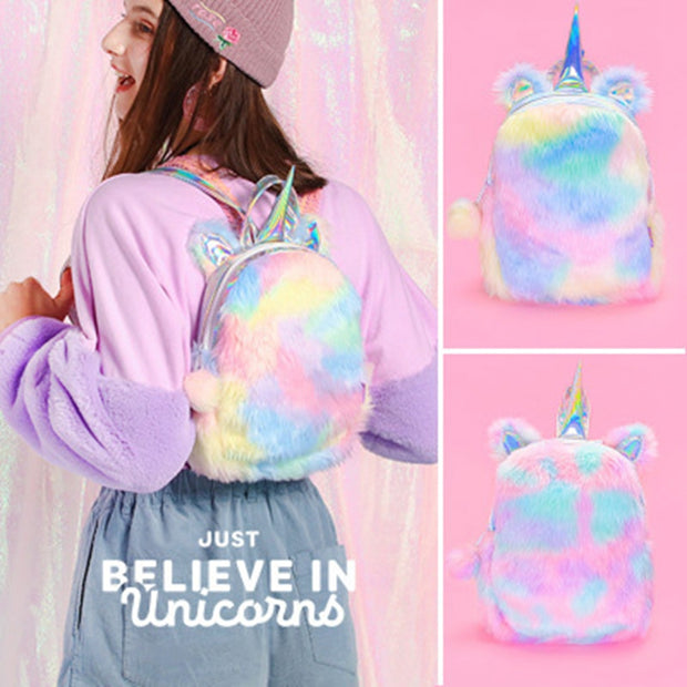 Unicorn Shaped Fluffy Bag