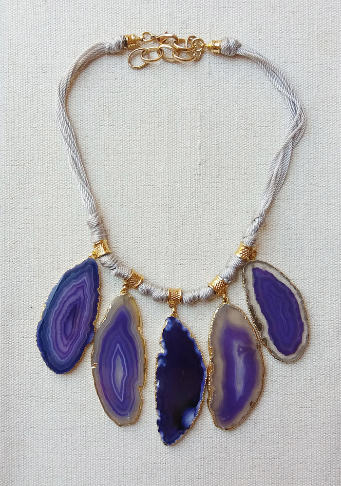 Five Agate Necklace in Purple