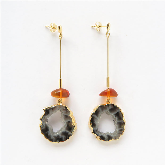 Amber & black geode earrings