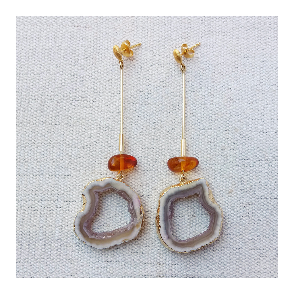 Amber & white geode Stick Earrings