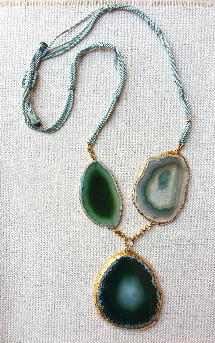 Assymetric Necklace in Green